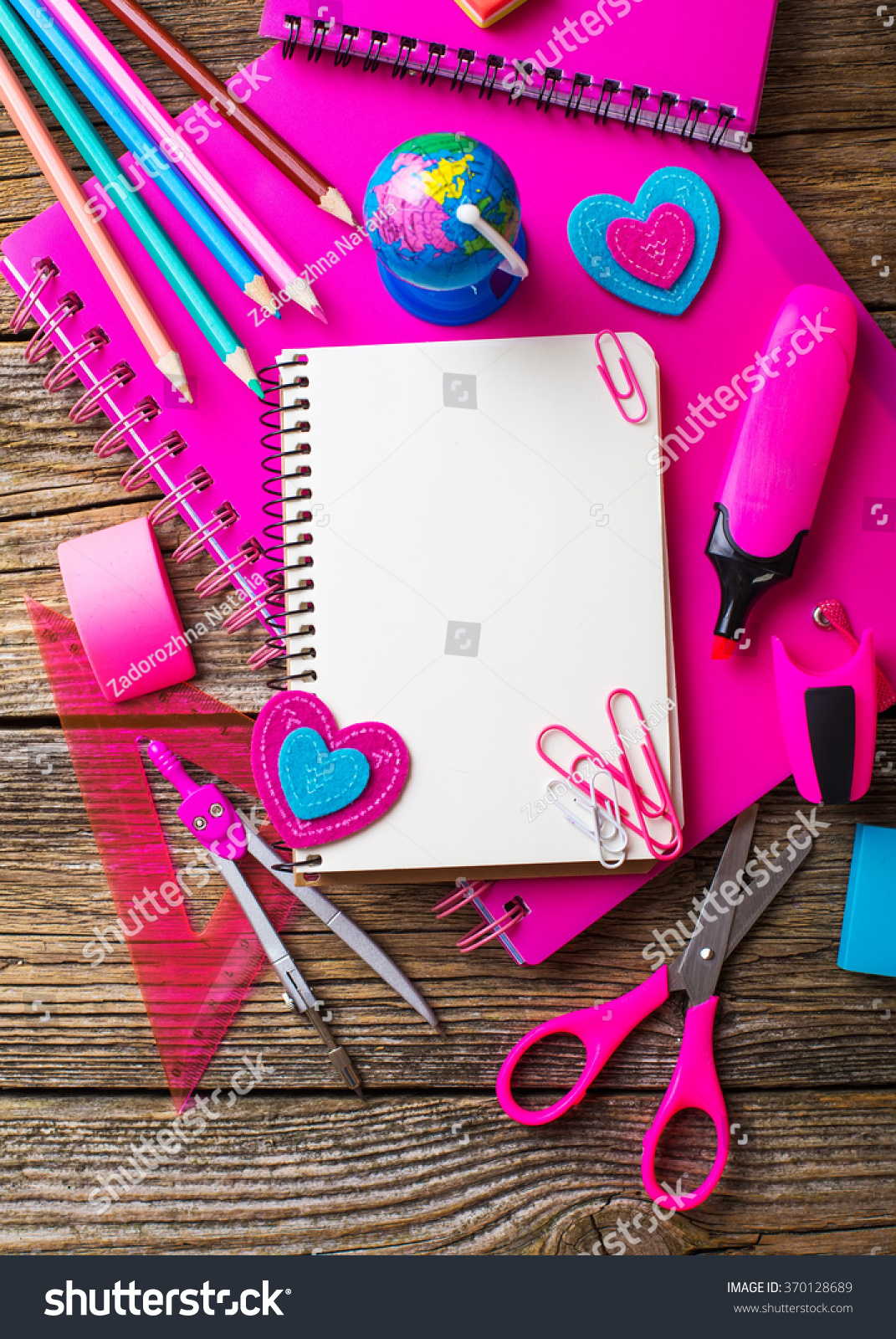 School Supplies Pink Color On Wooden Stock Photo