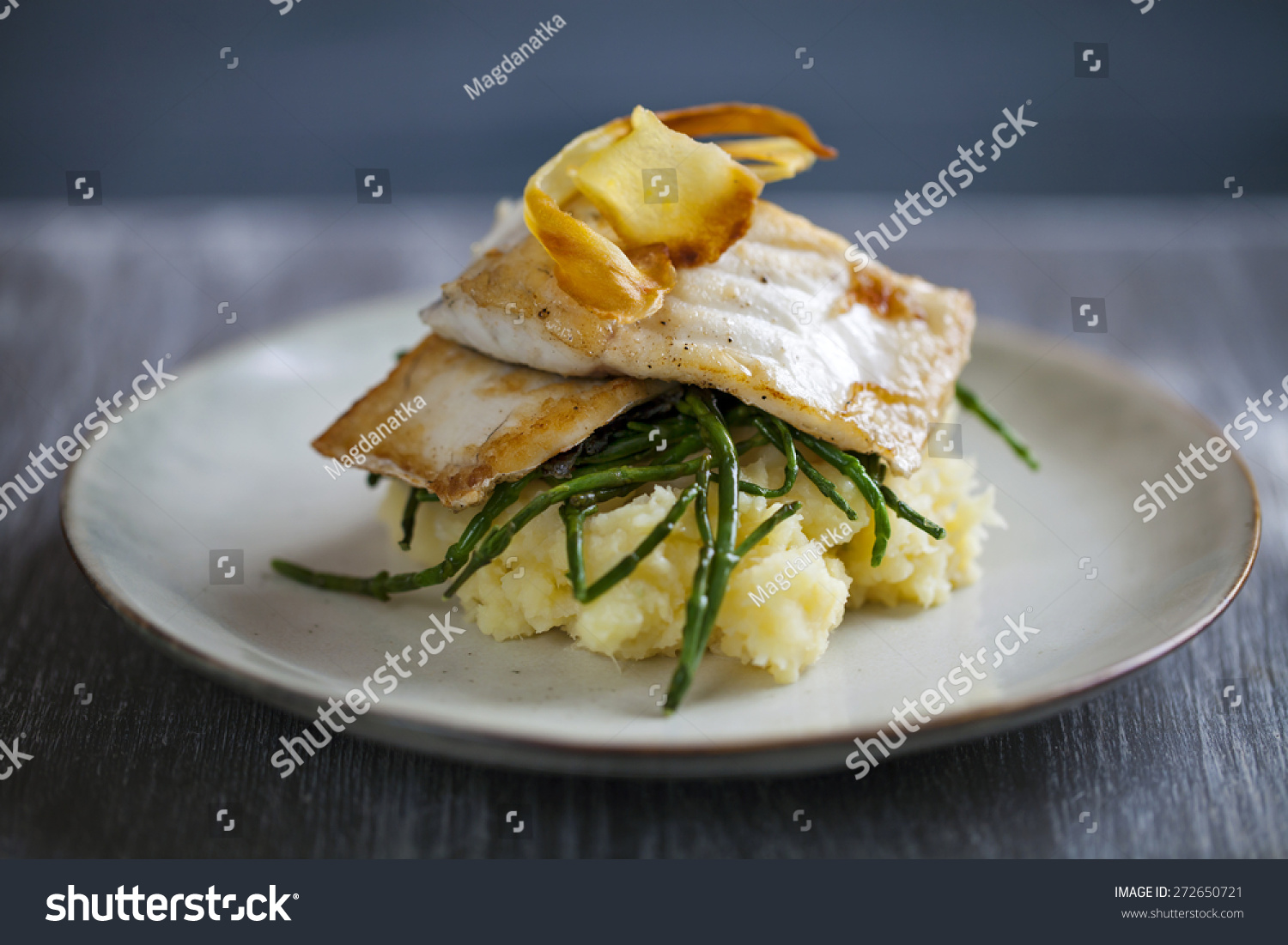 Sea Bass Fillet On Parsnip Mash And Samphire With Parsnip Crisp Stock Photo 272650721 : Shutterstock