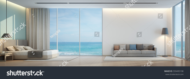 Sea View Bedroom Living Room Luxury Stock Illustration 559495198