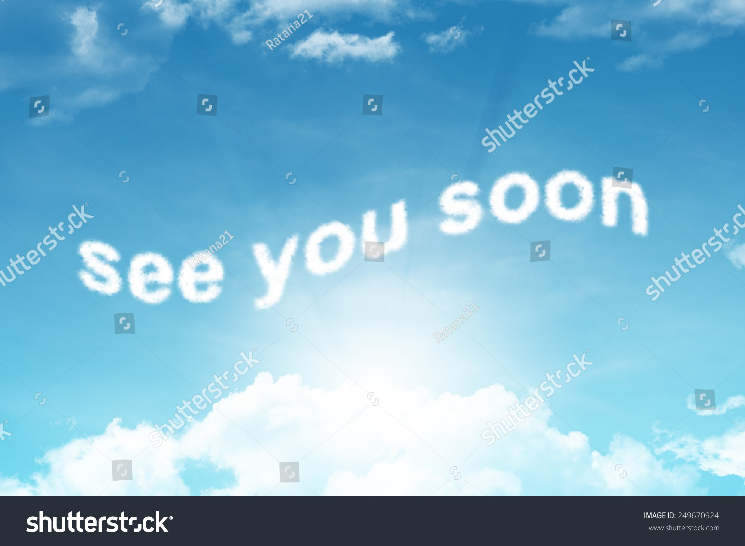 See You Sooncloud Text On Blue Stock Illustration