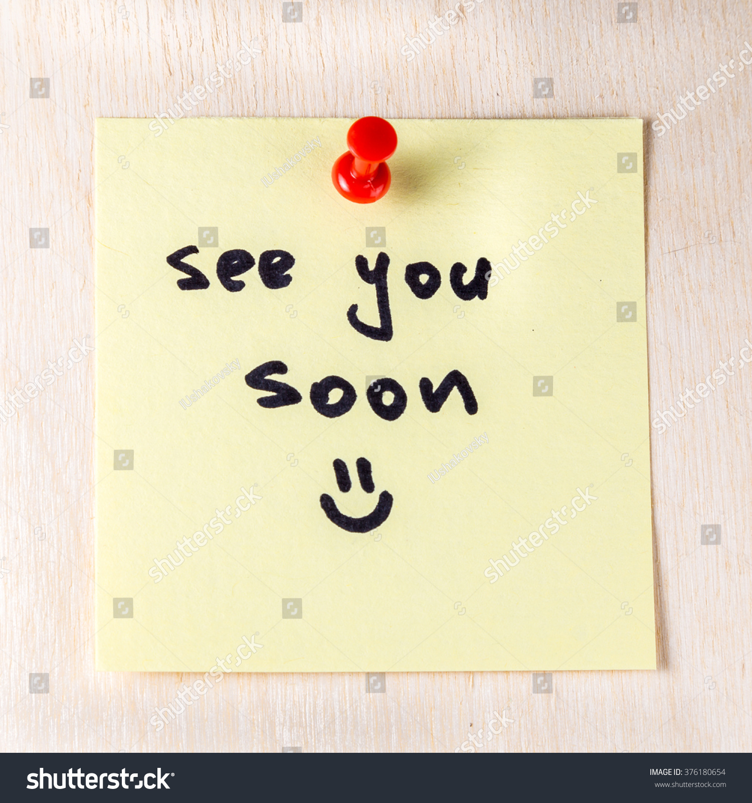 See You Soon Note On Paper Post It Pinned To A Wooden