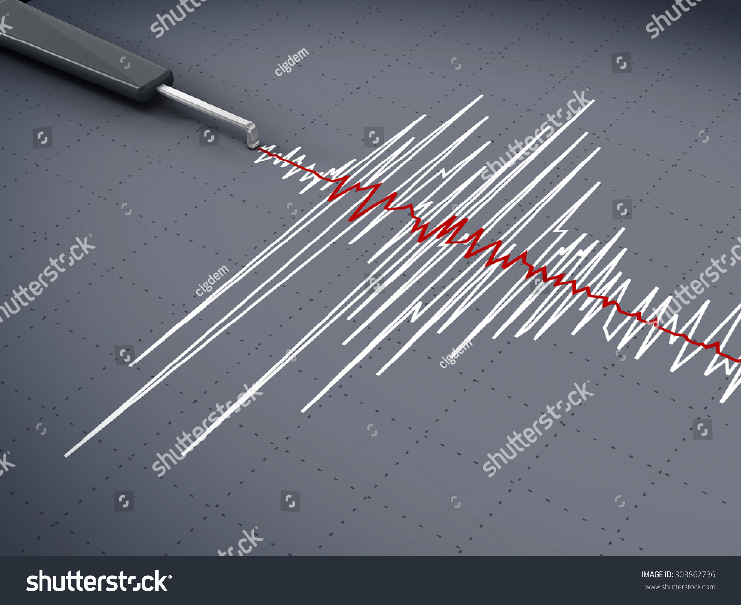 Seismic Activity Graph Showing An Earthquake Stock Photo