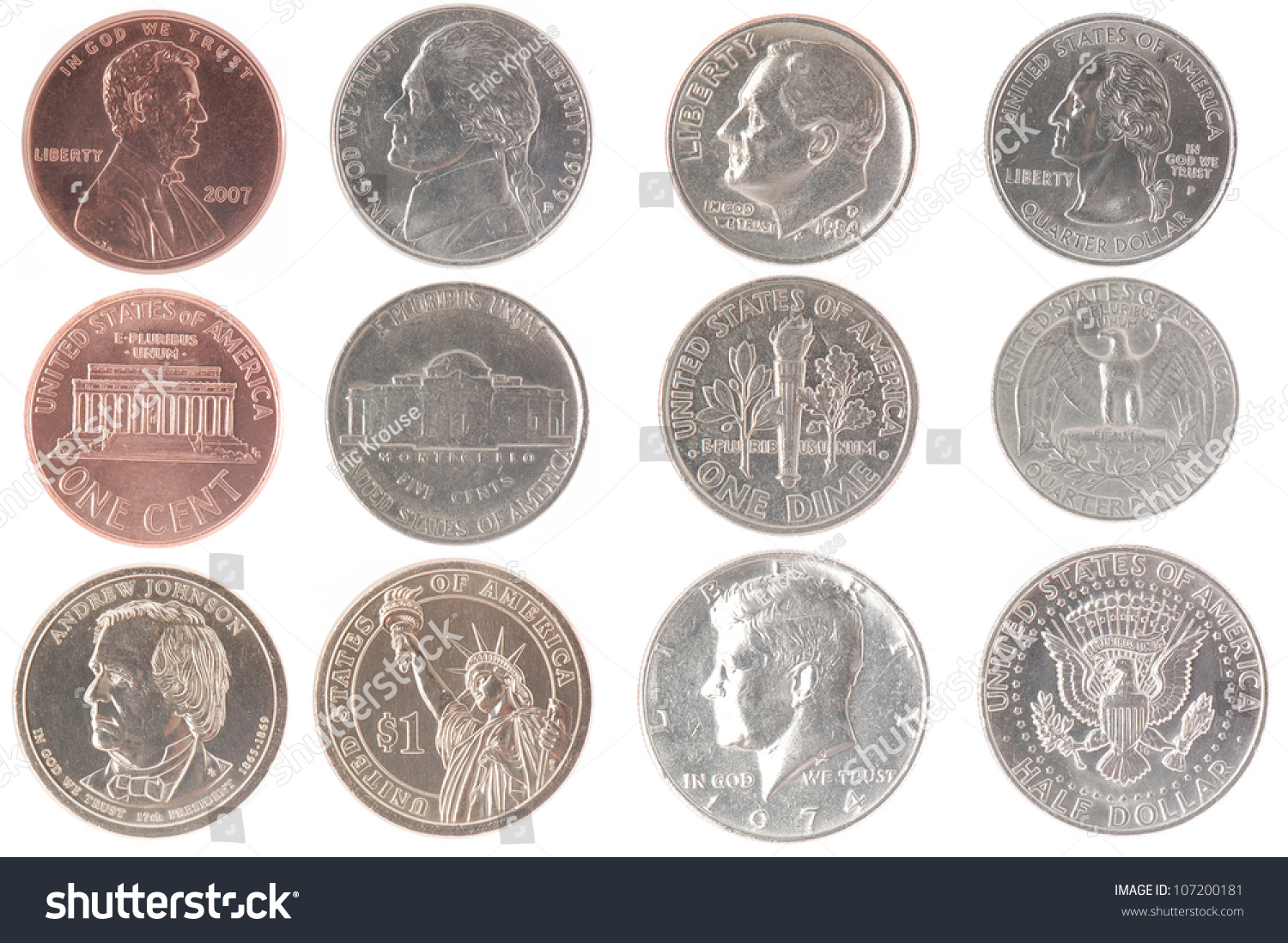 Set Isolated Coins American Currency Including Stock Photo