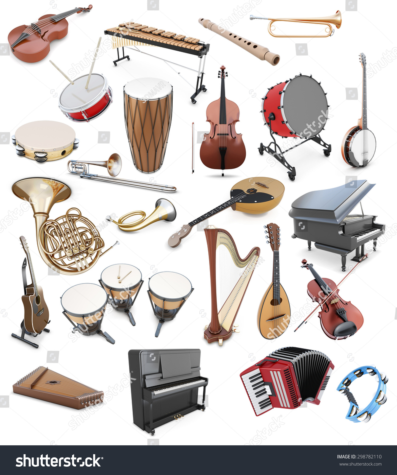 Set Musical Instruments On White Background Stock