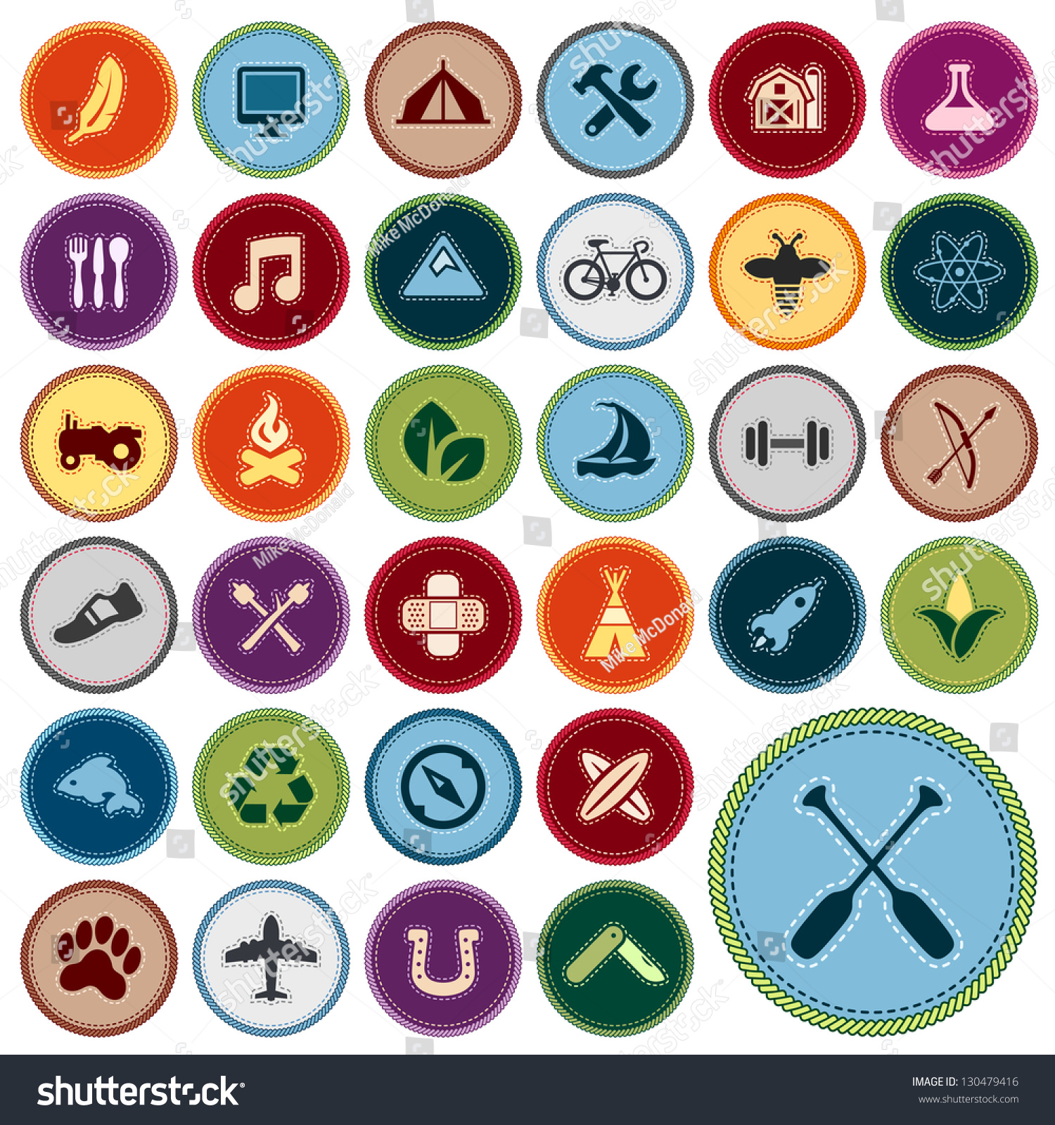 Set Scout Merit Badges Outdoor Academic Stock Illustration