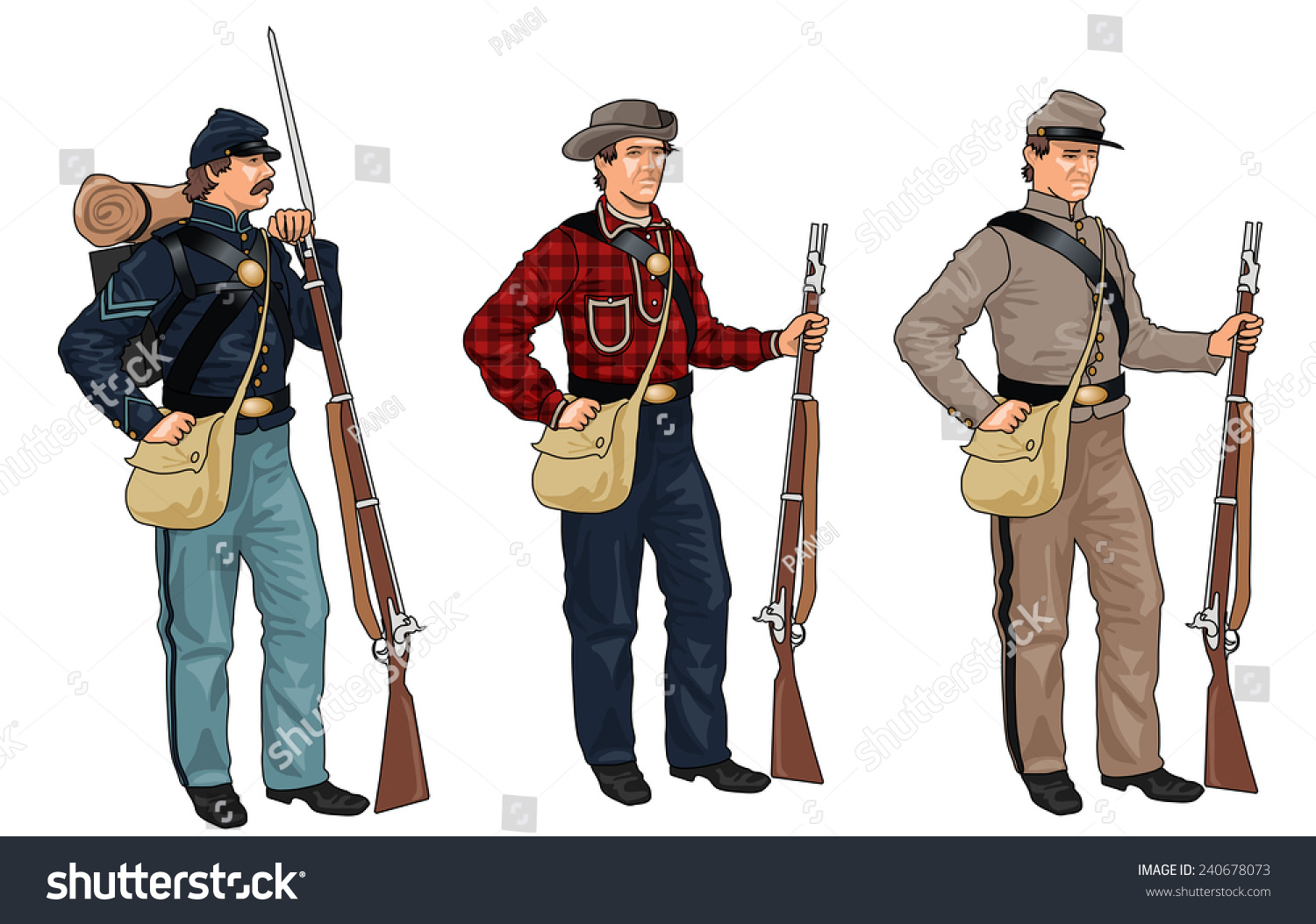 Set Of Three Sol Rs In Uniforms From American Civil War On White Background Stock Photo