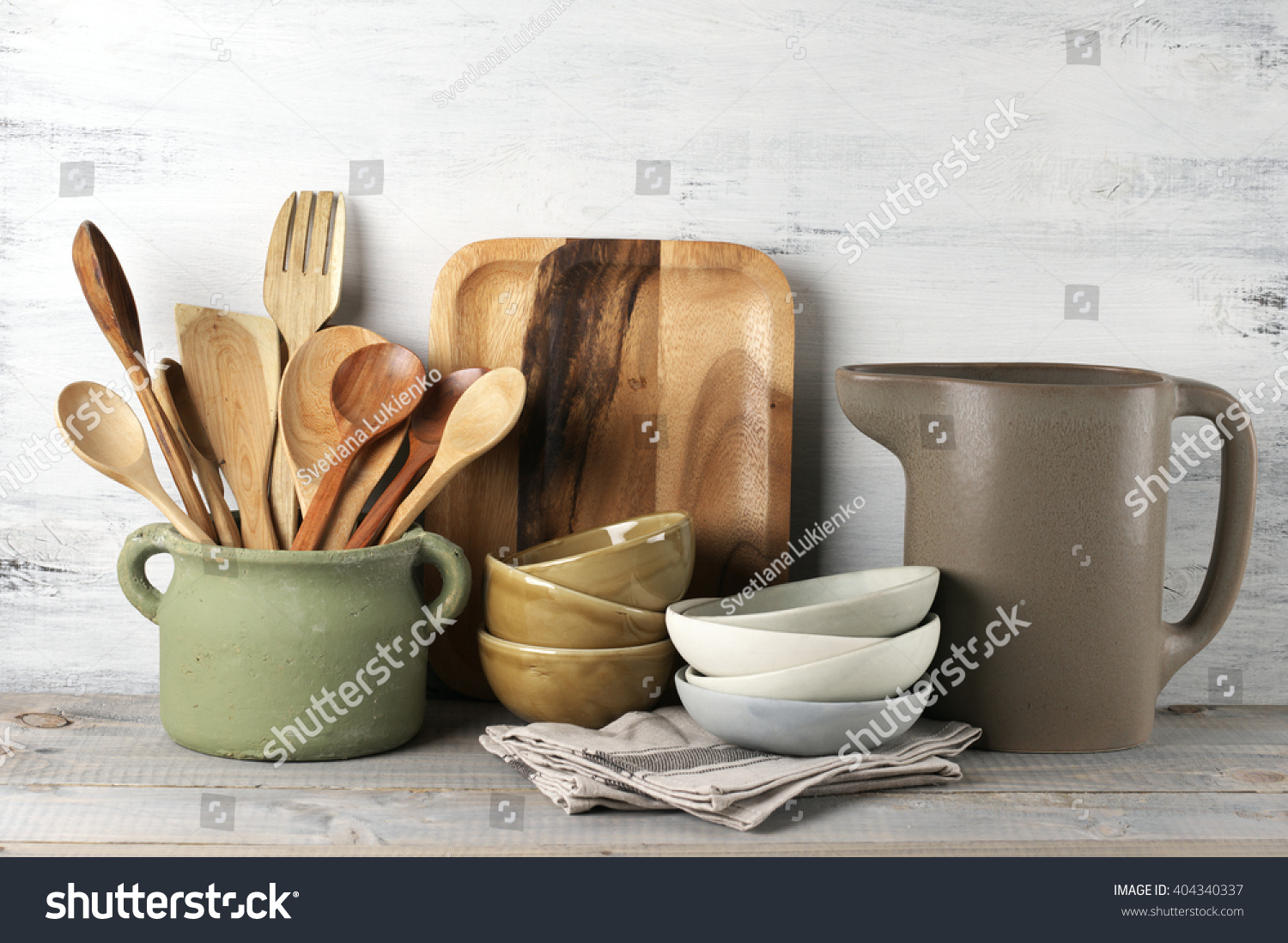 Simple Rustic Kitchenware Against White Wooden Stock Photo 404340337 Shutterstock