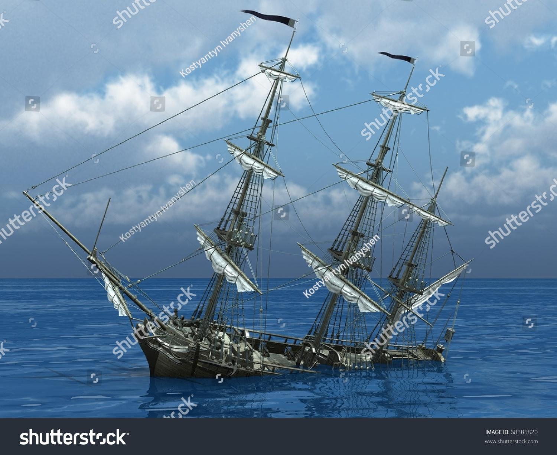 Sinking Ship Sea Stock Illustration