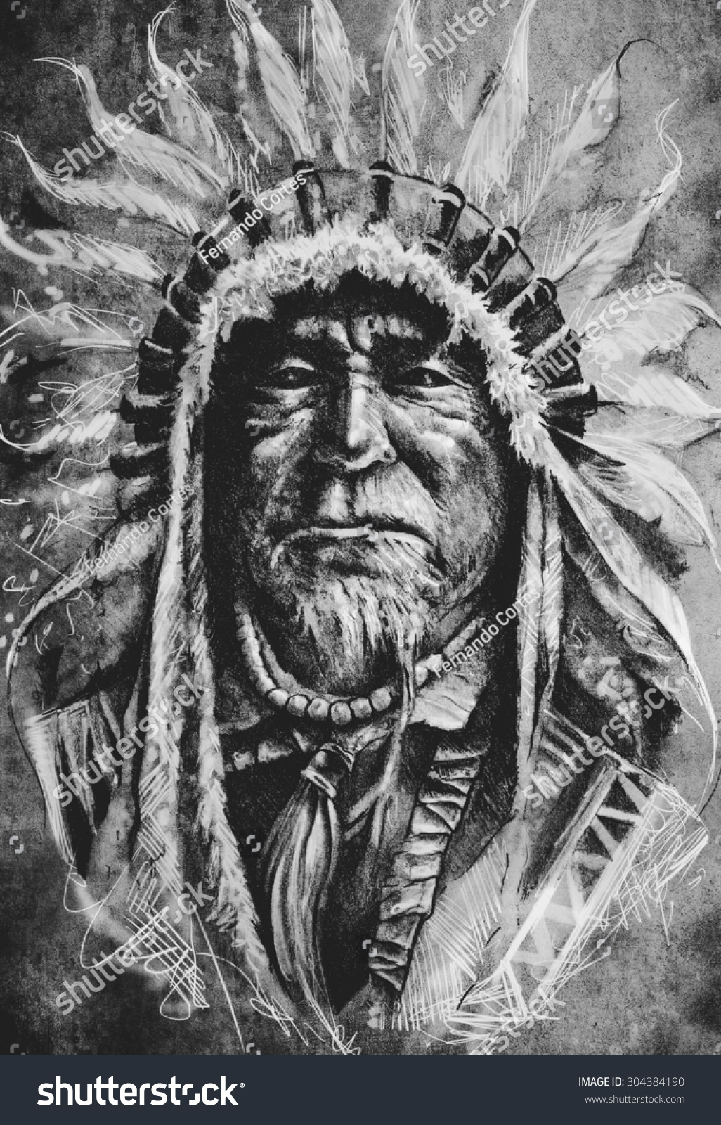 Sketch Tattoo Art Native American Indian Stock