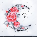 Sketch Moon Flowers On White Background Stock Illustration 587588924