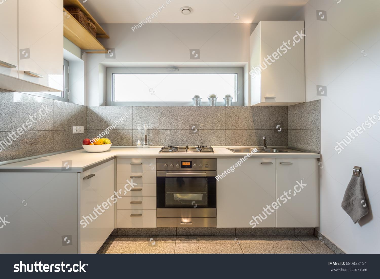 https www shutterstock com image photo small cosy kitchen window white walls 680838154