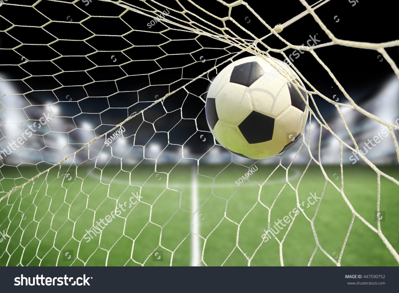 Soccer Ball Goal Spotlight Stock Photo