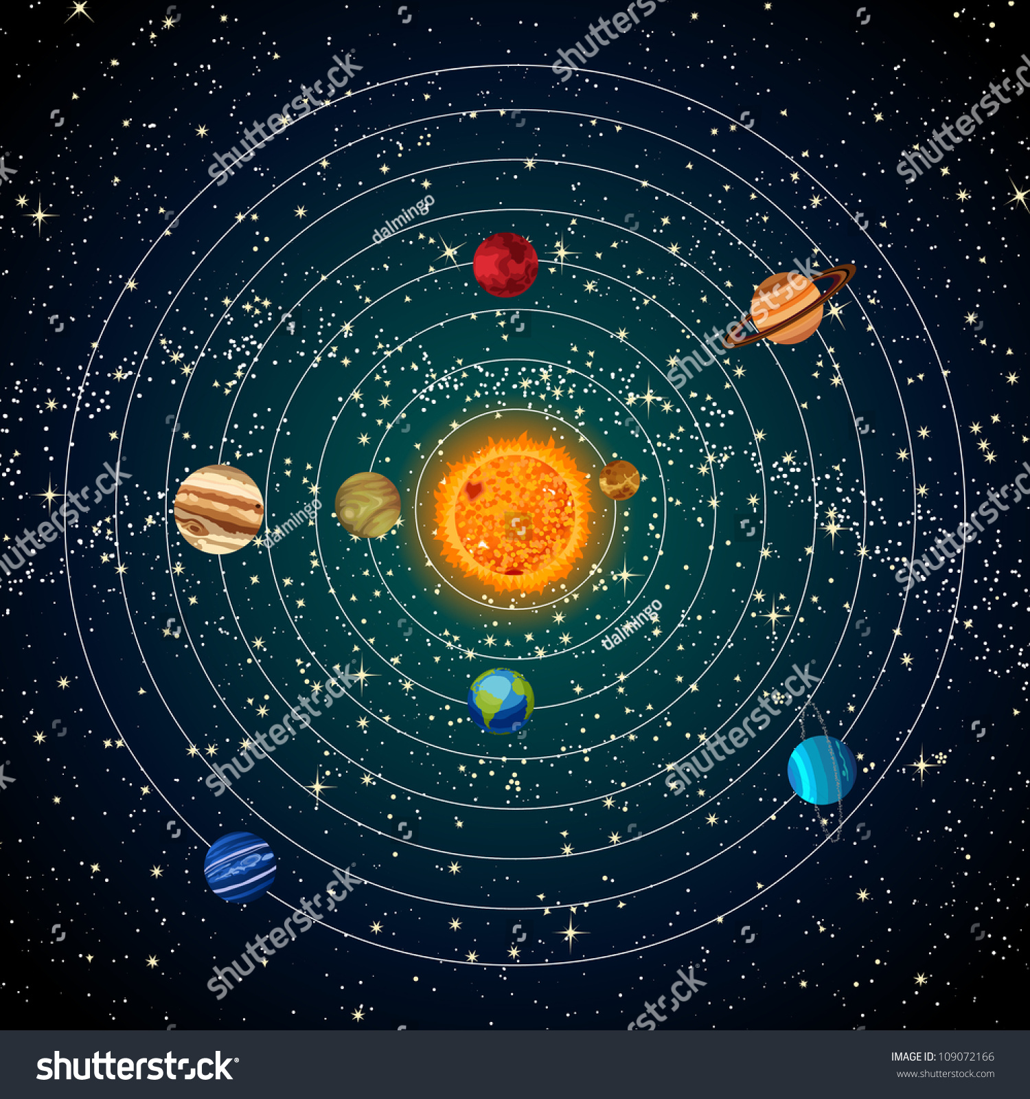 Solar System Sun Planets Stars Stock Illustration