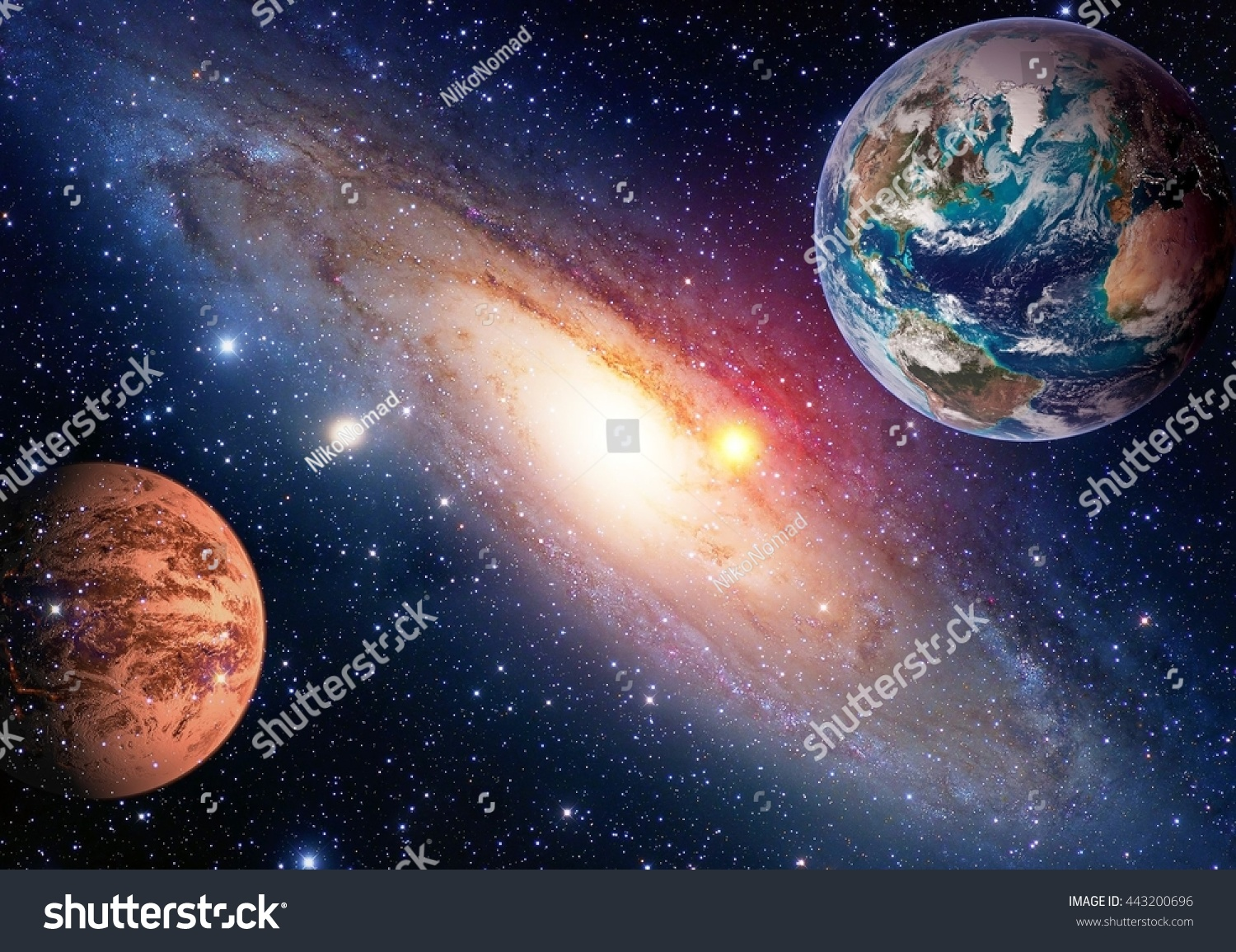 Space Planet Galaxy Milky Way Earth Stock Photo
