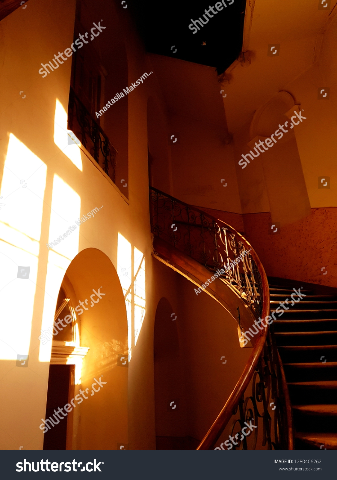 Spiral Staircase Attic Old House Sun Stock Photo Edit Now 1280406262 | Spiral Staircase To Attic | Easy | Adding | Stairway | White | Corner