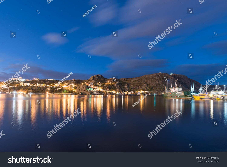 St JohnS Harbor At Night Stock Photo 491608849 Shutterstock