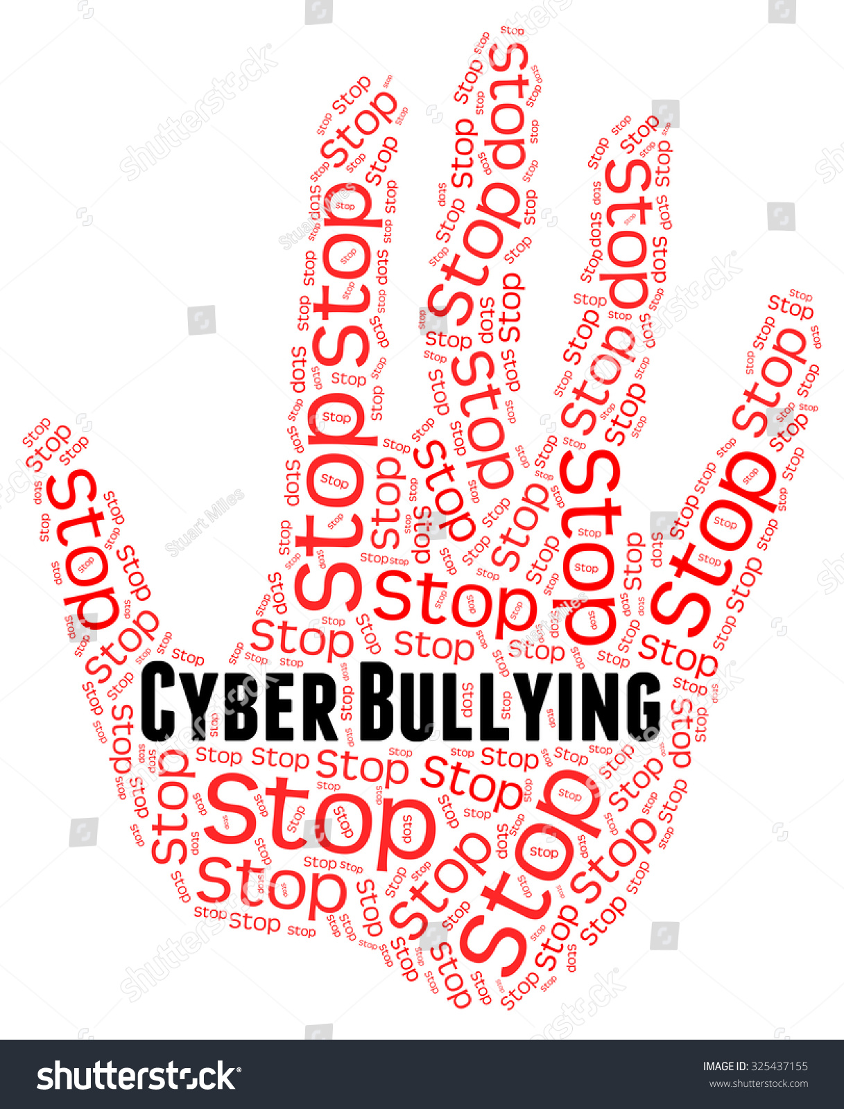 Stop Cyber Bullying Showing Warning Sign And Stopped Stock