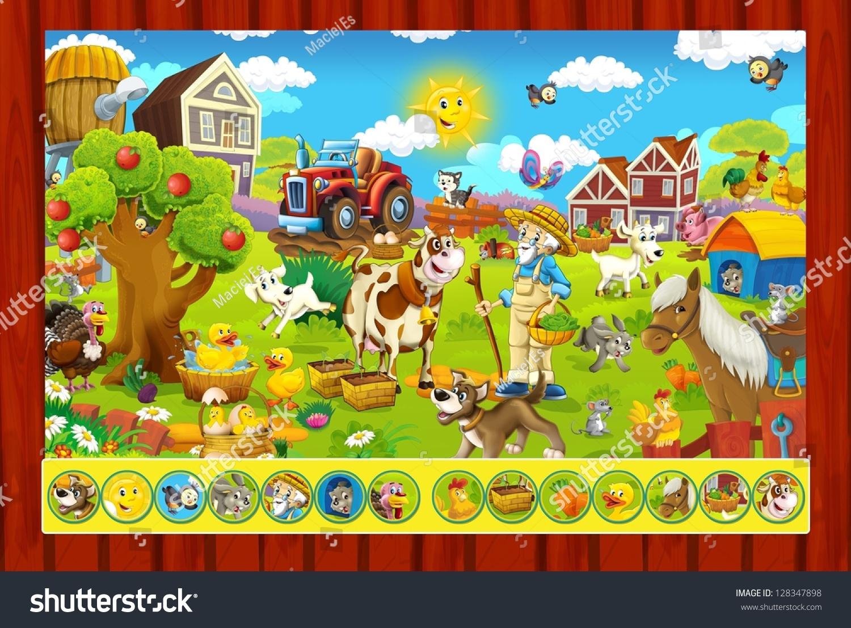 Page Exercises Kids Farm Illustration Children Stock
