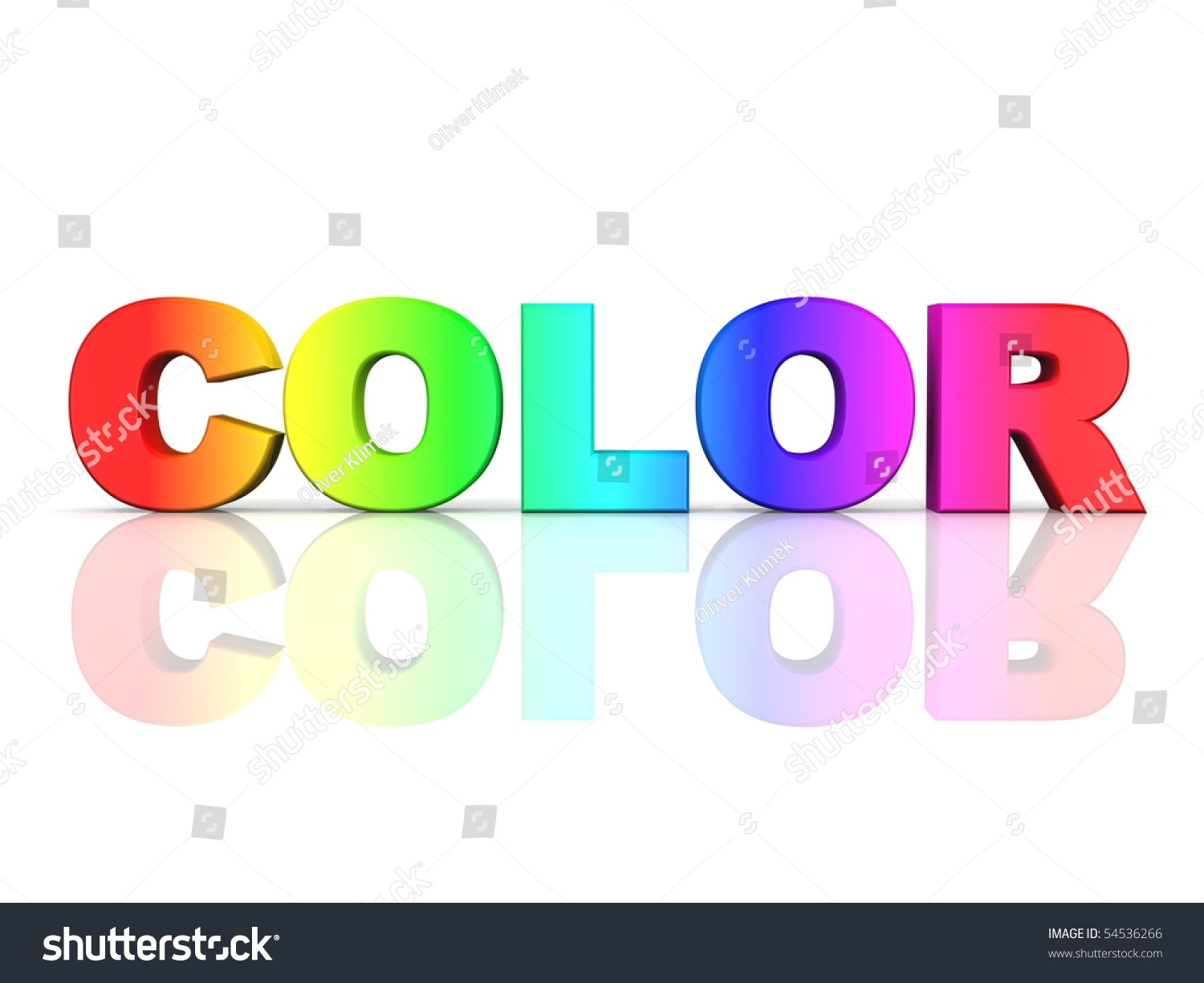 The Word Color In Rainbow Colors Stock Photo