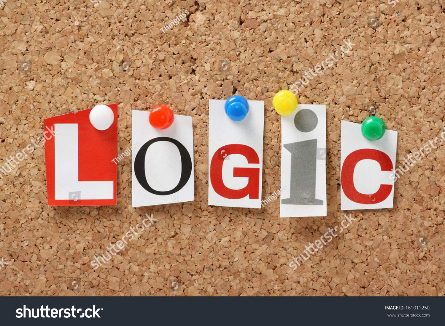 Word Logic Cut Out Magazine Letters Stock Photo