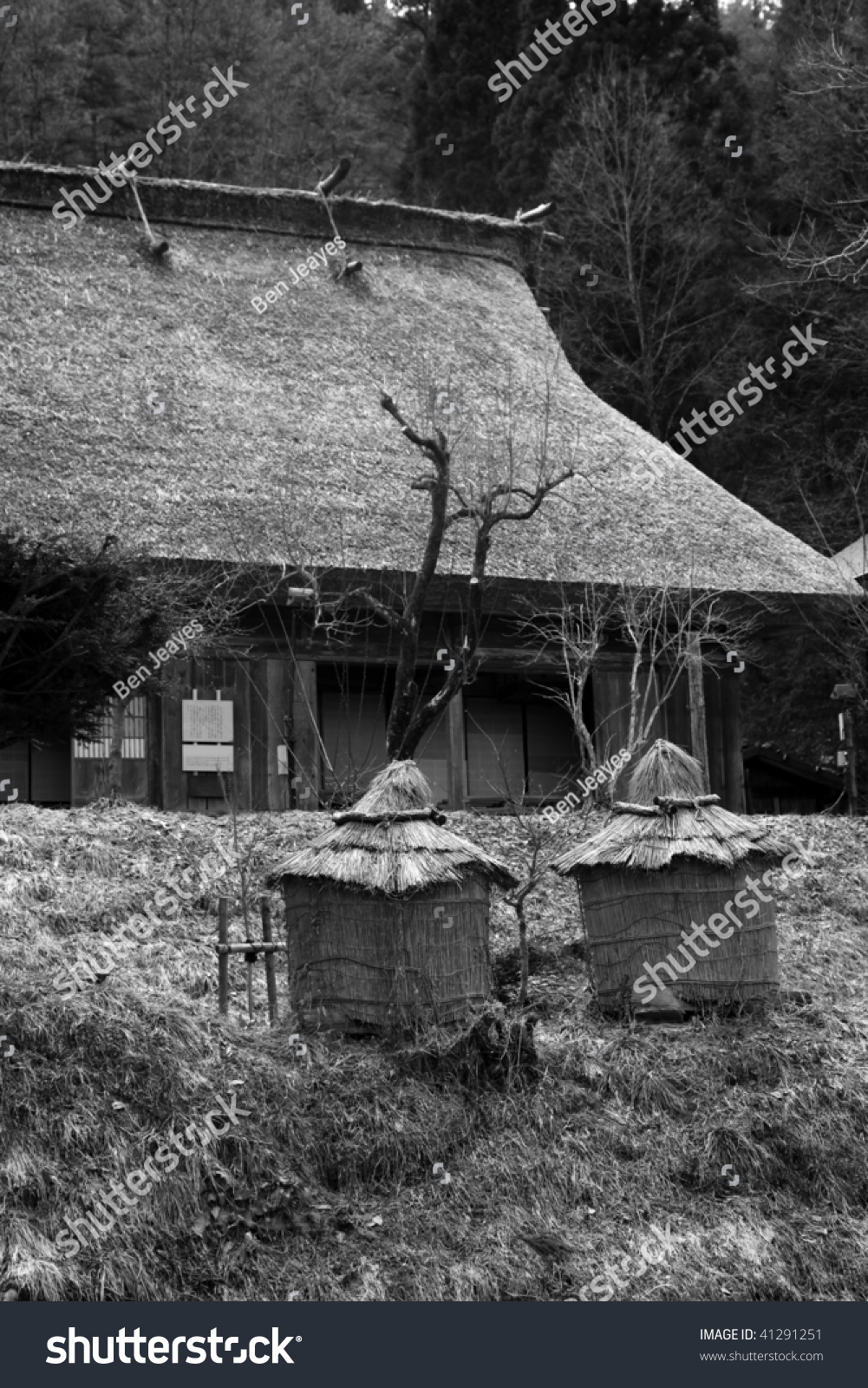 Traditional Style Japanese Village With Period Thatched Buildings In The Background. Black And White. Takayama - Japan Stock Photo 41291251 ...