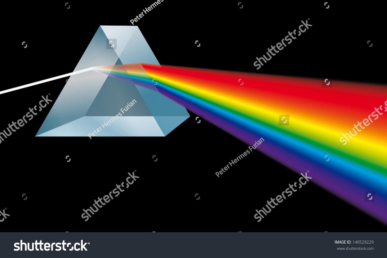 Triangular Prism Breaks Light Into Spectral Stock Illustration