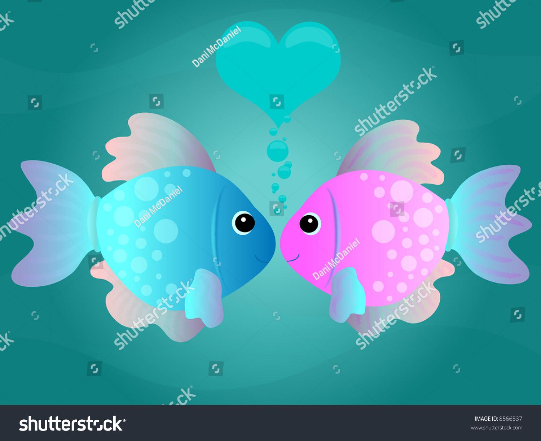 Two Cartoon Fish Kissing Underwater Scene Stock Illustration 8566537 Shutterstock