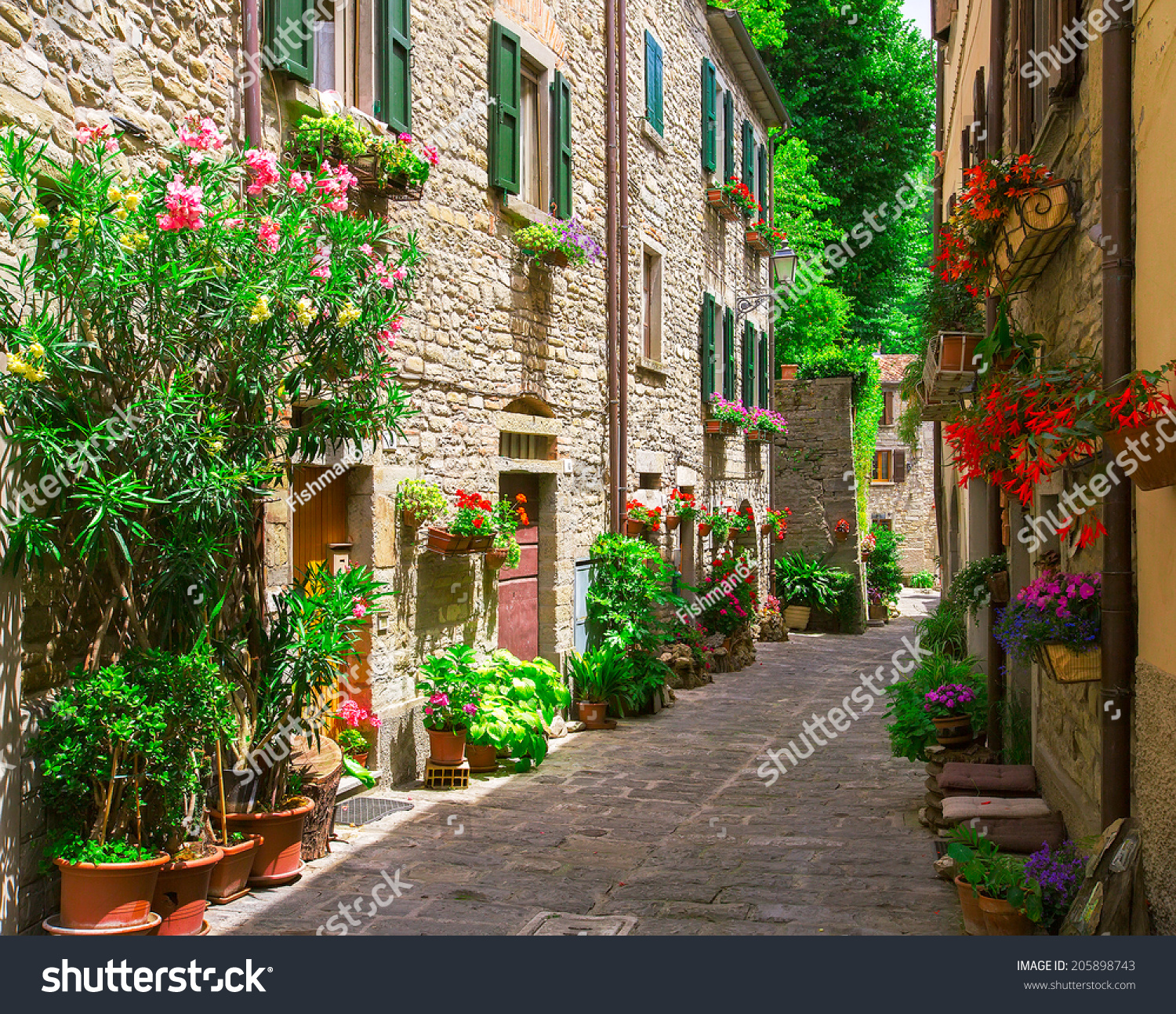 Typical Italian Street Small Provincial Town Stock Photo