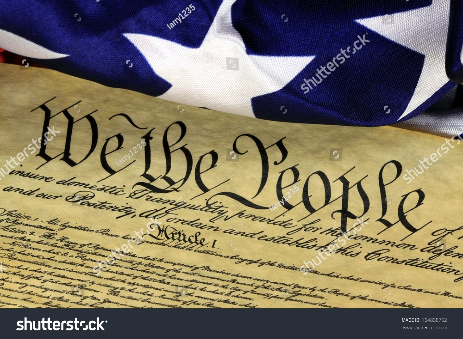 Us Constitution We People American Flag Stock Photo