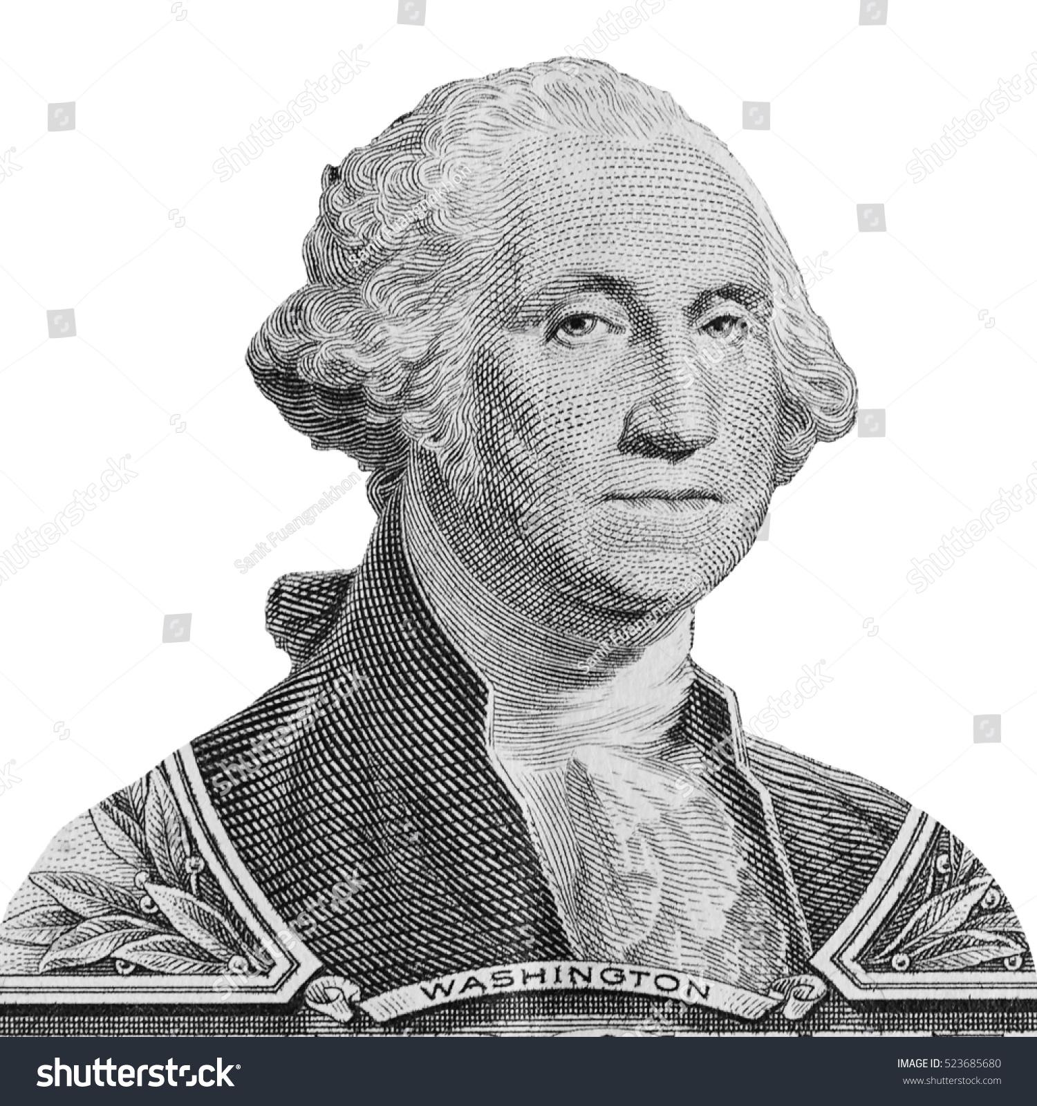 Us President George Washington Portrait On The One Dollar