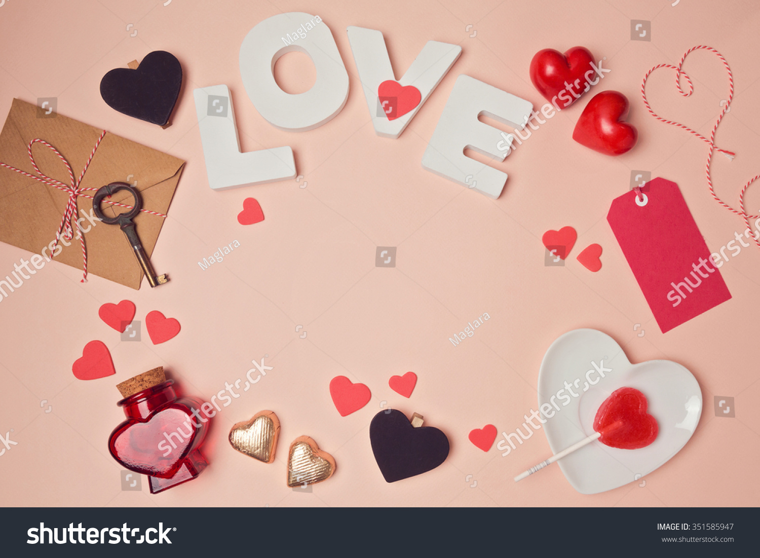 Valentines Day Background Love Letters Heart Stock Photo