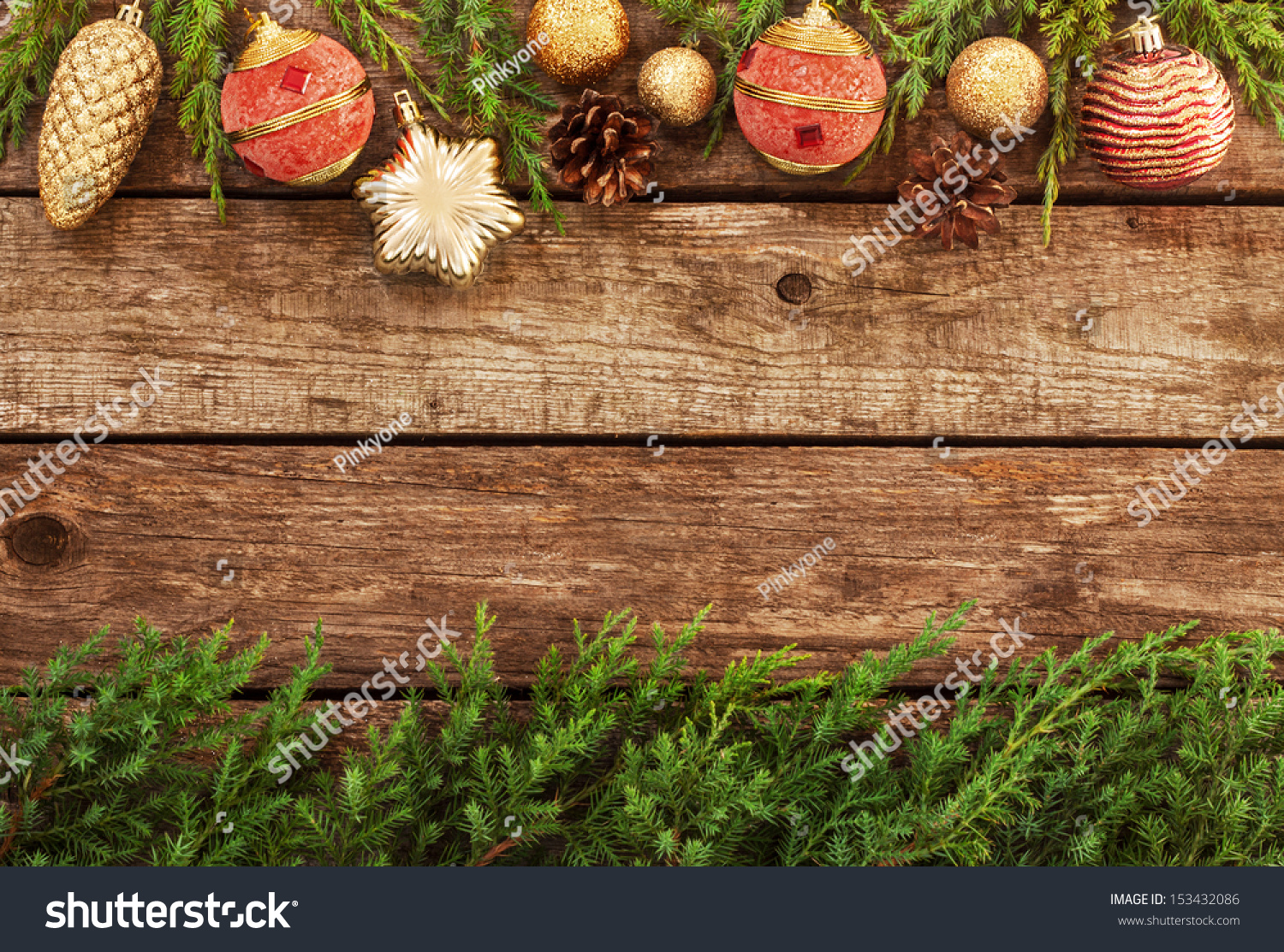 Vintage Christmas Background Old Planked Wood Stock Photo