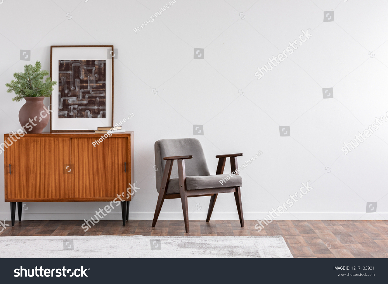 Vintage Living Room Interior Retro Furniture Royalty Free