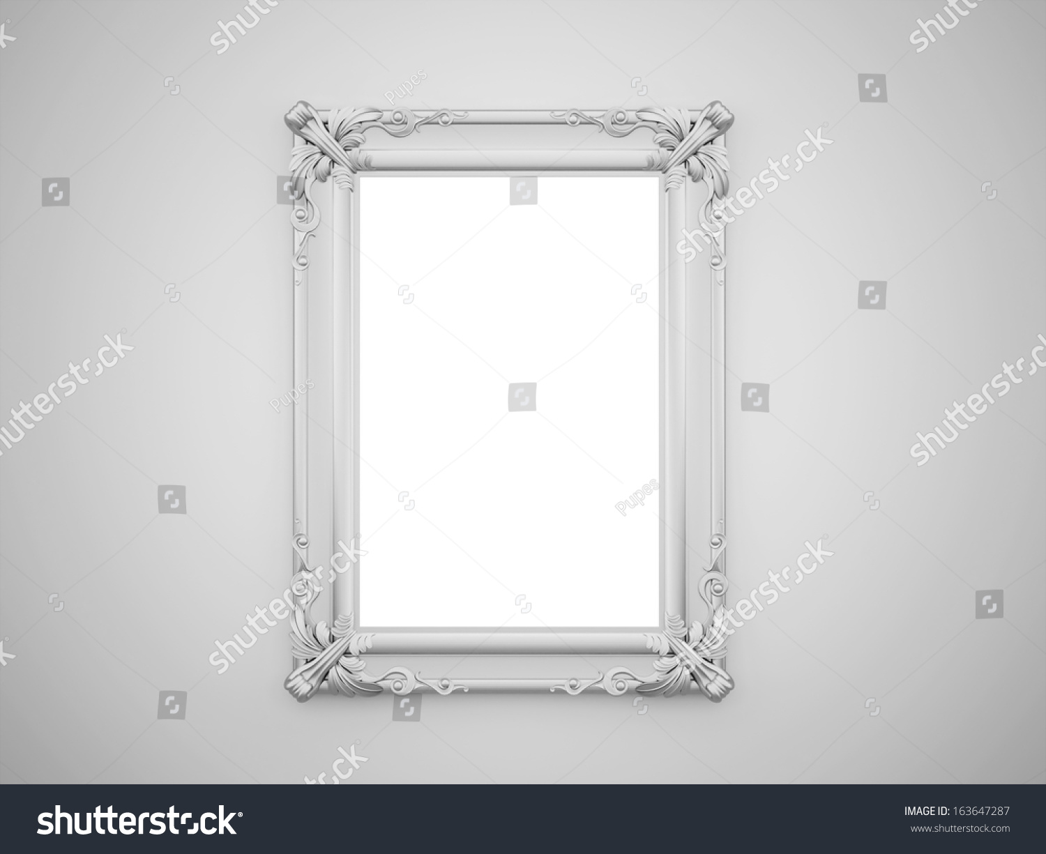 Vintage Mirror With Silver Frame On The Wall Rendered