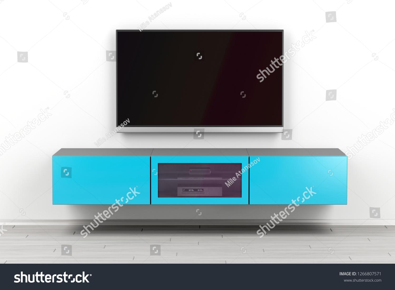 Wall Mounted Tv Cabinet Big Flat Stock Illustration 1266807571