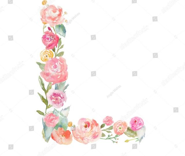 Watercolor Floral Monogram Letter L