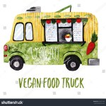 Watercolor Vegan Food Truck Vegetarian Street Stock Illustration 652327144
