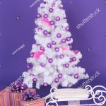White Christmas Tree Decorations Purple Background Stock Photo Edit Now 168639971
