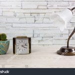White Wooden Desk Clock Classic Table Stock Photo Edit Now 1354234418