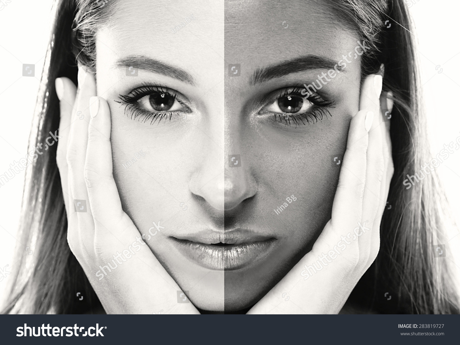 Woman Face Tanned Half Young Beautiful Stock Photo