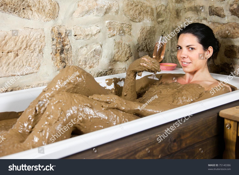 Woman Bath Clay Health Glass Champagne Stock Photo