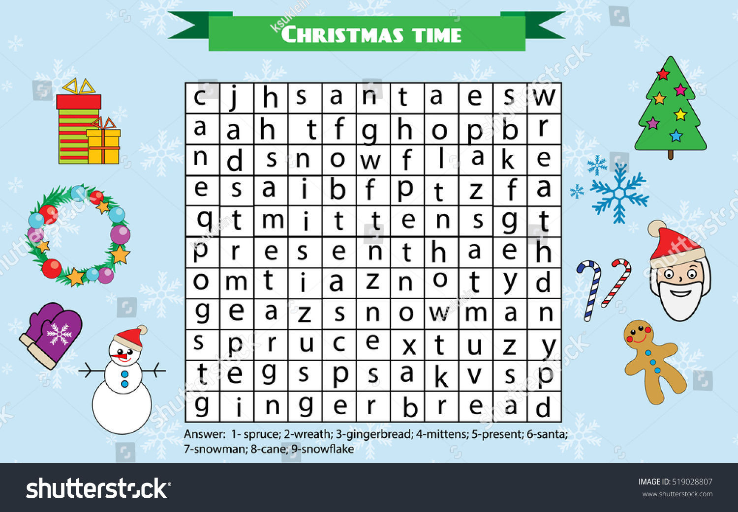 Word Search Puzzle Kids Activity Sheet Stock Illustration