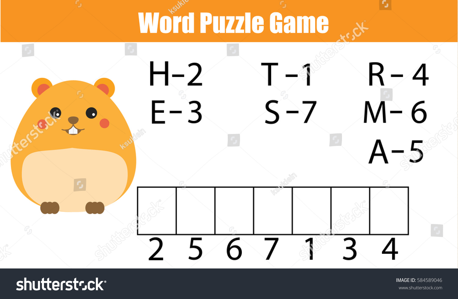 Words Puzzle Children Educational Game Numbers Stock