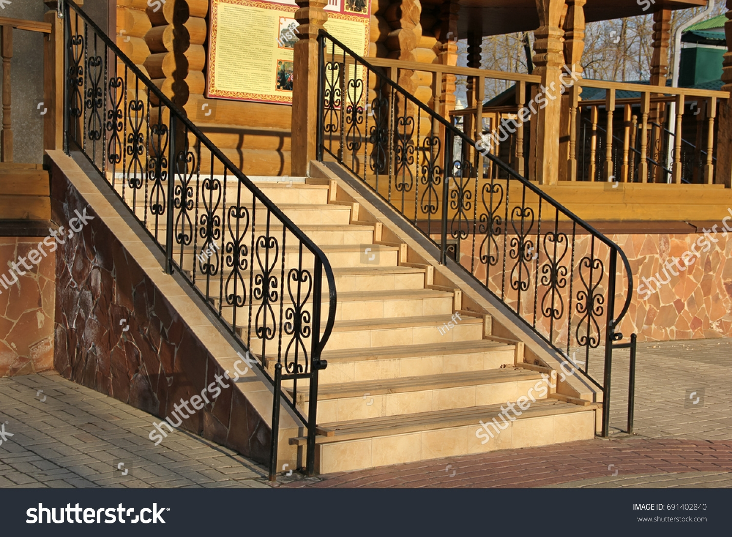 Wrought Iron Stair Railing Stairs Stock Photo Edit Now 691402840   Wrought Iron Stair Railing   Italian   Front Porch   French   Mediterranean   Design