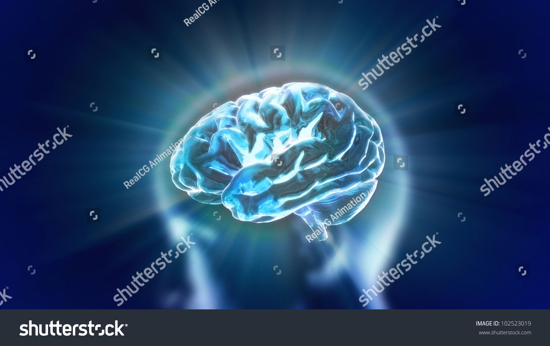 Xray Brain Represent Theme Biology Intelligenttechnology Stock Illustration