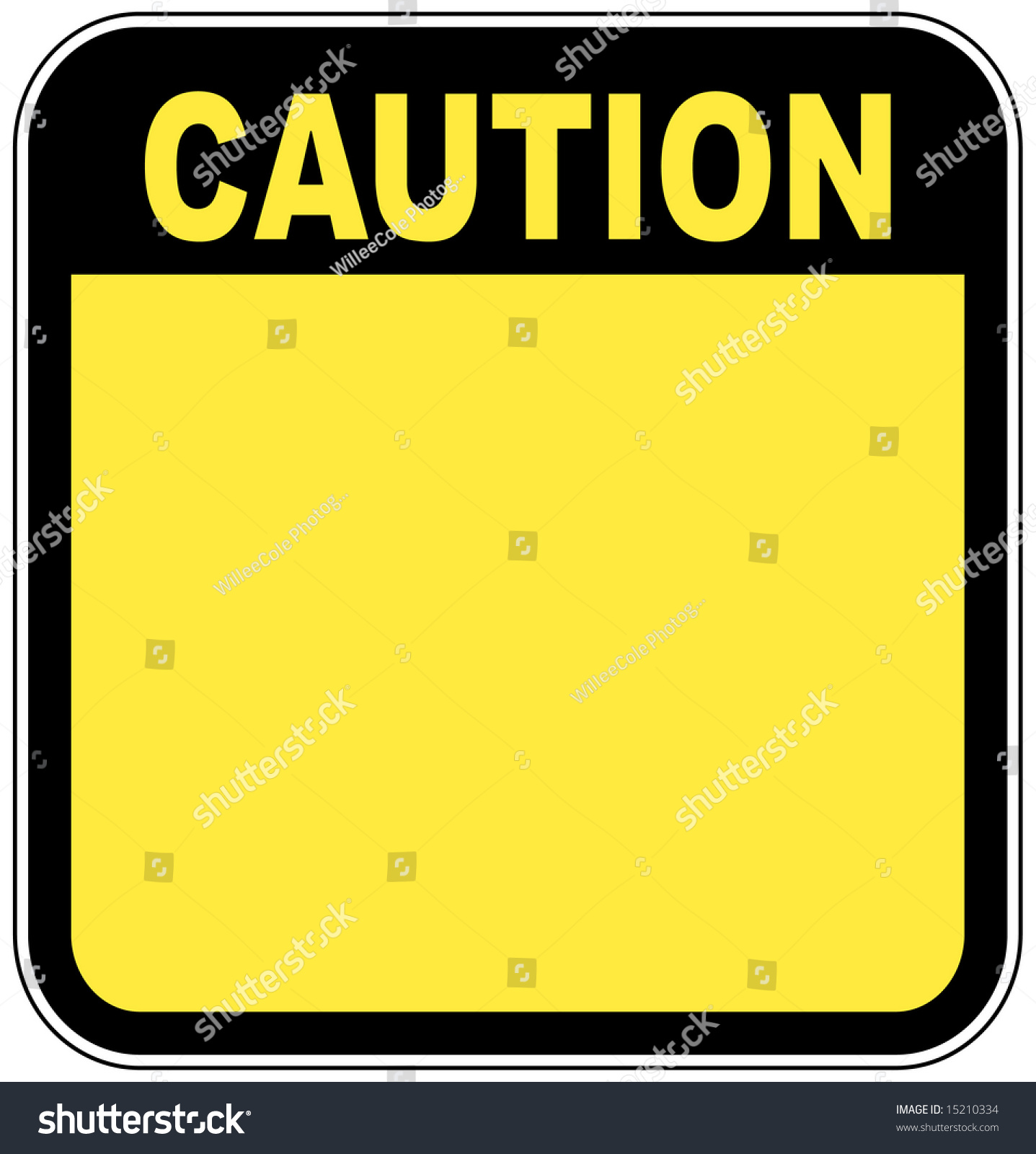 Yellow Caution Sign Left Blank With Room For Your Own