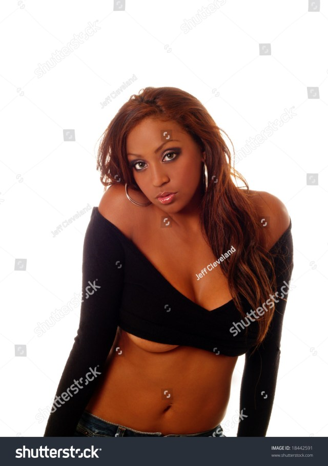 Young Black Woman In Sweater With Bottom Of Breast Showing