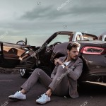 Young Handsome Man Posing Convertible Car Stock Photo Edit Now 768240001