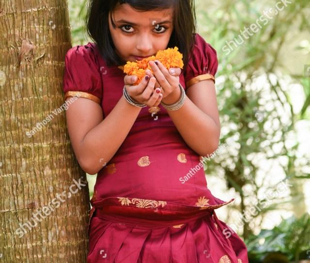 Young Indian Girl Kids Wearing Traditional Dress For Cultural Onam Vishu Kerala India