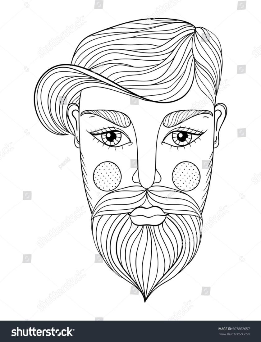 zentangle portrait man face mustache beard stock